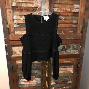 Cinq A Sept Black Cold Shoulder Smocked Shirt